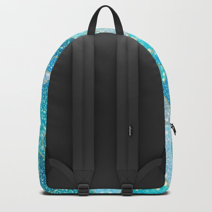 Mermaid Waves and Sea Faux Glitter, Sun Light over the Ocean 1 Backpack
