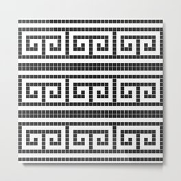 Black & white modern greek motifs tiles pattern Metal Print