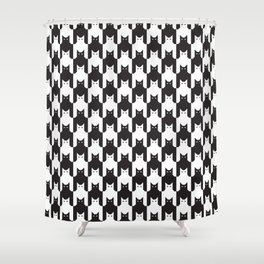 Cats Dog Tooth Pattern Shower Curtain