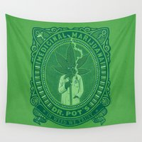 marijuana Wall Tapestries featuring Medicinal Marijuana by victor calahan