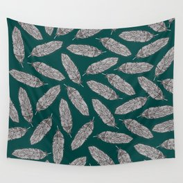 Feathers Pattern green Wall Tapestry