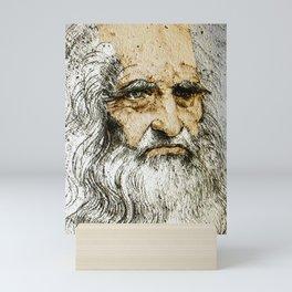Da Vinci Self Portrait Remastered With Added Color By Da Vinci Mini Art Print