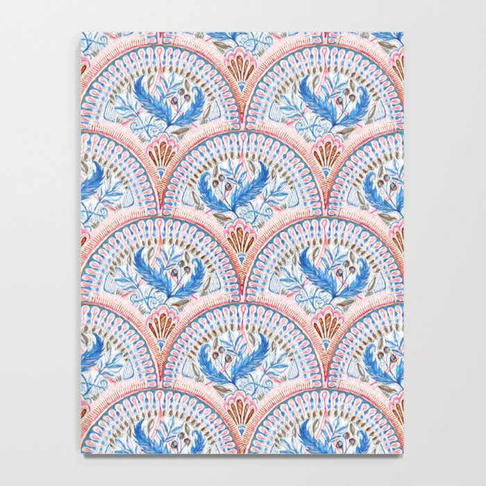 Art Deco Fresco in Sky Blue and Coral Notebook