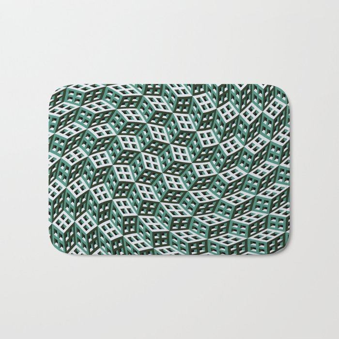 Abstract twisted cubes Bath Mat