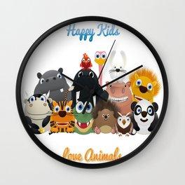 Happy kids love animals Wall Clock