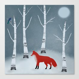 Winter Solstice Night Folk Art Canvas Print