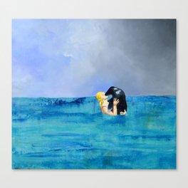 Girl Kissing Seal Canvas Print
