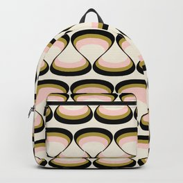 Olive Green, Pink, and Black Retro Wavy Line Pattern Backpack