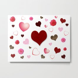 Hearts and Roses Metal Print