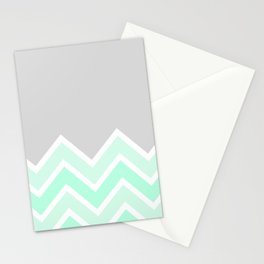 TWO-TONE MINT CHEVRON COLORBLOCK Stationery Cards