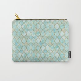 Luxury Aqua and Pink and Gold oriental pattern Carry-All Pouch