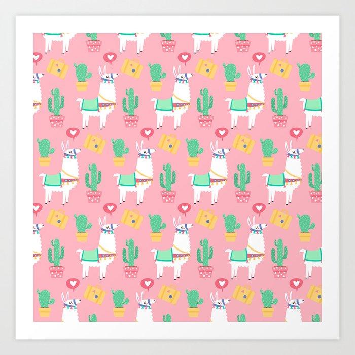 Cute Alpaca & Cactus Pattern Art Print