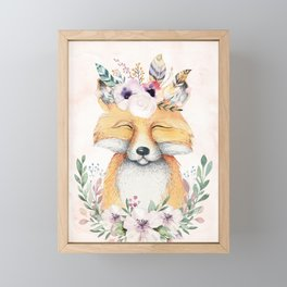 Forest Fox Floral Pink by Nature Magick Framed Mini Art Print