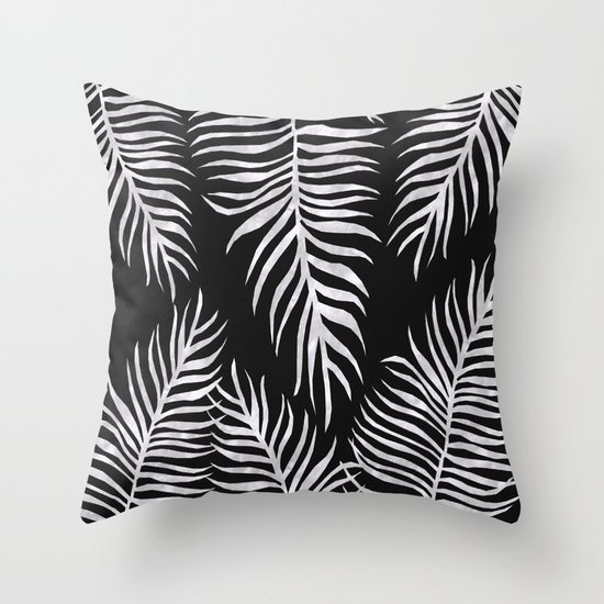 Black And White Patterned Throw Pillows : Fern Pattern Black And White Throw Pillow by LaVieClaire Society6