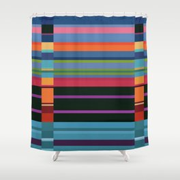 Colorful Lines And Retangles Geometric Abstract Art Digitalart Gift Shower Curtain