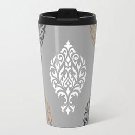 Orna Damask Ptn BW Grays Gold Travel Mug