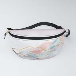 Abstract painted landscape of mountains Fanny Pack