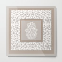 Hamsa in morrocan pattern Metal Print