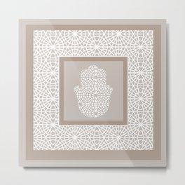 Hamsa in morrocan pattern Metal Print