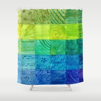 bali Shower Curtains featuring Bali Quilt by Catherine Holcombe