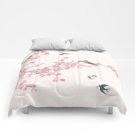 Birds and cherry blossoms Comforters