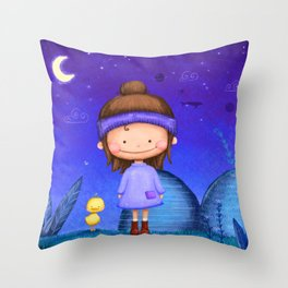 Mademoiselle Kiki and little Duck Throw Pillow