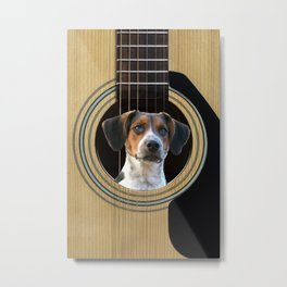 Guitar Music Instrument Jack Russell Terrier Dog #society6 #dogs Metal Print