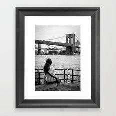 Looking at Brookling Bridge Framed Art Print