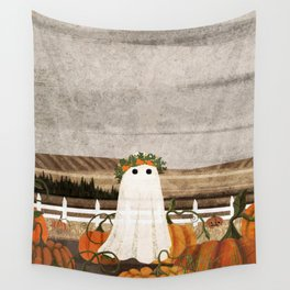 There's a Ghost in the Pumpkins Patch Again... Wall Tapestry