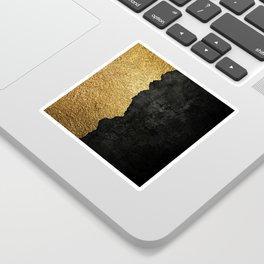 Gold torn & black grunge Sticker