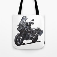 bmw Tote Bags featuring BMW R1200GS by Ernie Young