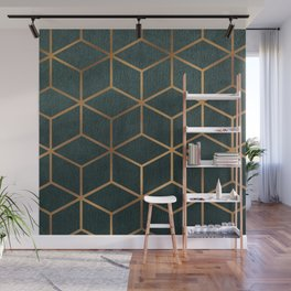 Dark Teal and Gold - Geometric Textured Gradient Cube Design Wall Mural