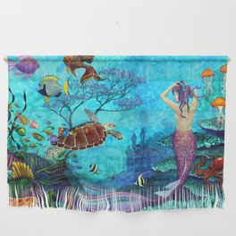 A Fish of a Different Color - Mermaid and seaturtle Wall Hanging
