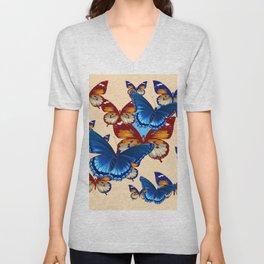 #2 MODERN ART DECORATIVE BLUE-BROWN  BUTTERFLIES Unisex V-Neck