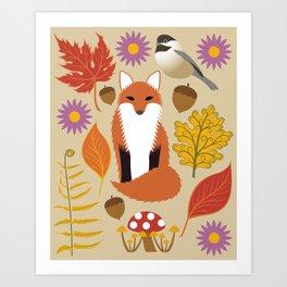 Autumn Fox and Forest Leaf Art Print