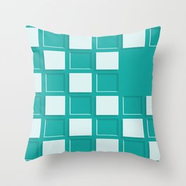 GREEN AND WHITE SQUARES Abstract Art Throw Pillow