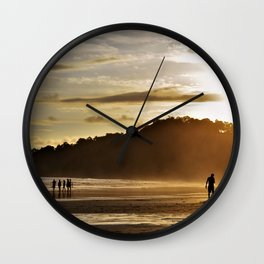Silhouette sunset in Costa Rica Wall Clock