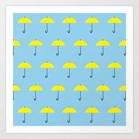 himym Art Prints featuring HIMYM Yellow Umbrella by tralalavelling