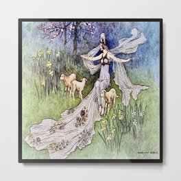 """""""The Fairy Queen"""" by Warwick Goble 1900 Metal Print"""