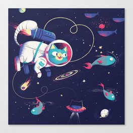 The Adventures of Space Cat Canvas Print