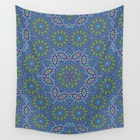 lace Wall Tapestries featuring Lace kaleidoscope by Wendy Townrow