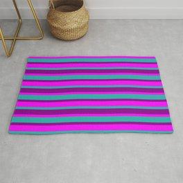 Fuchsia, Light Sea Green & Dark Magenta Stripes/Lines Pattern Rug
