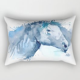 Watercolor Horse Portrait Abstract Paint Splatter Rectangular Pillow