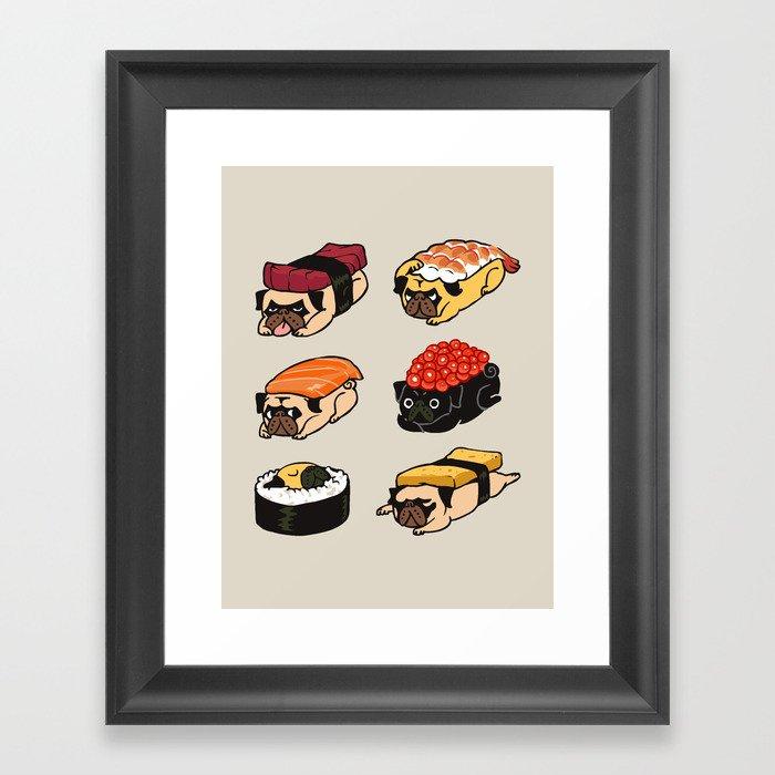 Sushi Pug Gerahmter Kunstdruck