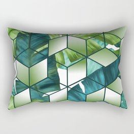 Tropical Cubic Effect Banana Leaves Design Rectangular Pillow