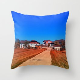Peaceful countryside village scenery | landscape photography Throw Pillow