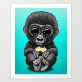 Cute Baby Gorilla With Football Soccer Ball Art Print