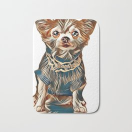 Chihuahua dog wearing knitted blue jumper with lace sitting isolated on white background         - I Bath Mat
