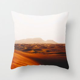 Minimalist Desert Landscape Sand Dunes With Distant Mountains Throw Pillow