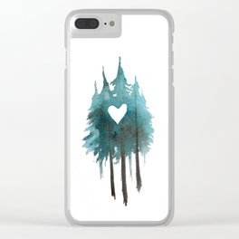 Forest Love - heart cutout watercolor artwork Clear iPhone Case